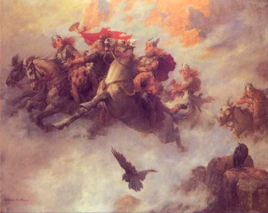 Valkyrie Sisters Bear Slain Heroes To Valhall, Asatru Gods And Heroes