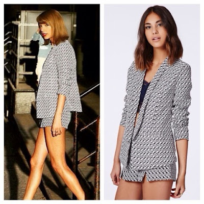 Taylor Swift dinner with Camila Cabello in Missguided Matching Print Blazer and Shorts Set