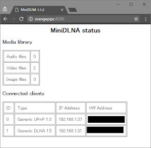 minidlnaステータス画面