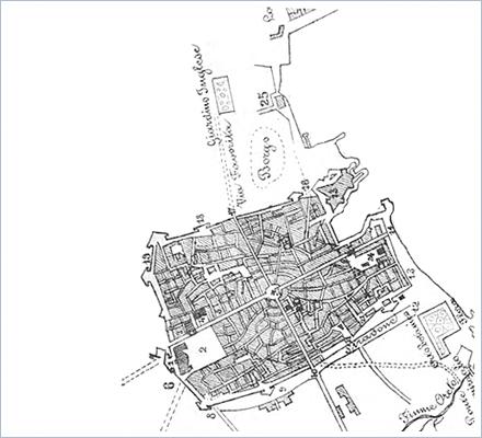 Stadtplan von Palermo um 1860 - Entnommen: Cronaca degli avvenimenti di Sicilia, Italien 1863