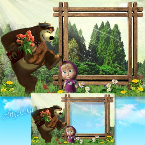 """Детская рамка с героями мультфильма """"Маша и Медведь"""" - Мишка, дай ещё конфетку"""