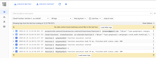 'View Logs' takes you to StackDriver Logging