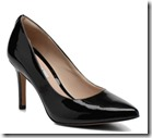 Clarks black patent pointed toe court shoe