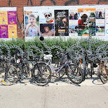 the Kensington Market signs made out of a giant bicycle chain in Toronto, Ontario, Canada