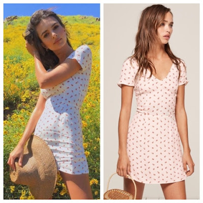 Emily Ratajkowski in fields wearing Reformation Raleigh Cherry Dress