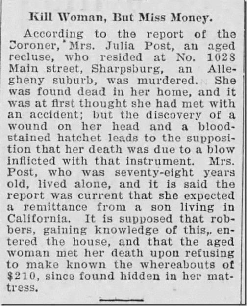 Julia OReilly murdered Press Herald 12_28_1906 pg 7