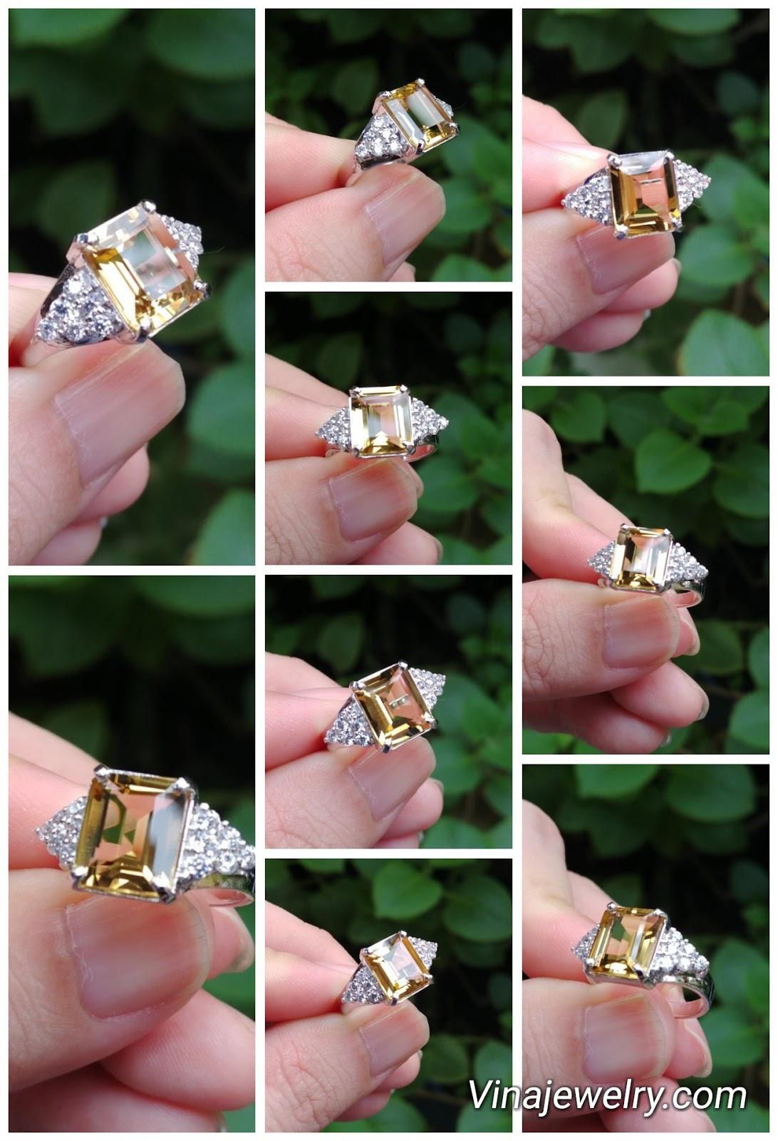 Nhẫn nữ đá Citrine thiên nhiên, vàng trắng 18k