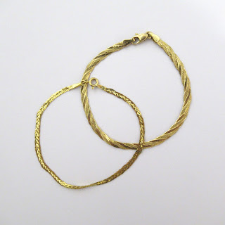 !4K Gold Flat Chain Bracelet Pair