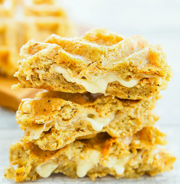 photo of a stack of Cauliflower Waffle Grilled Cheese sandwiches