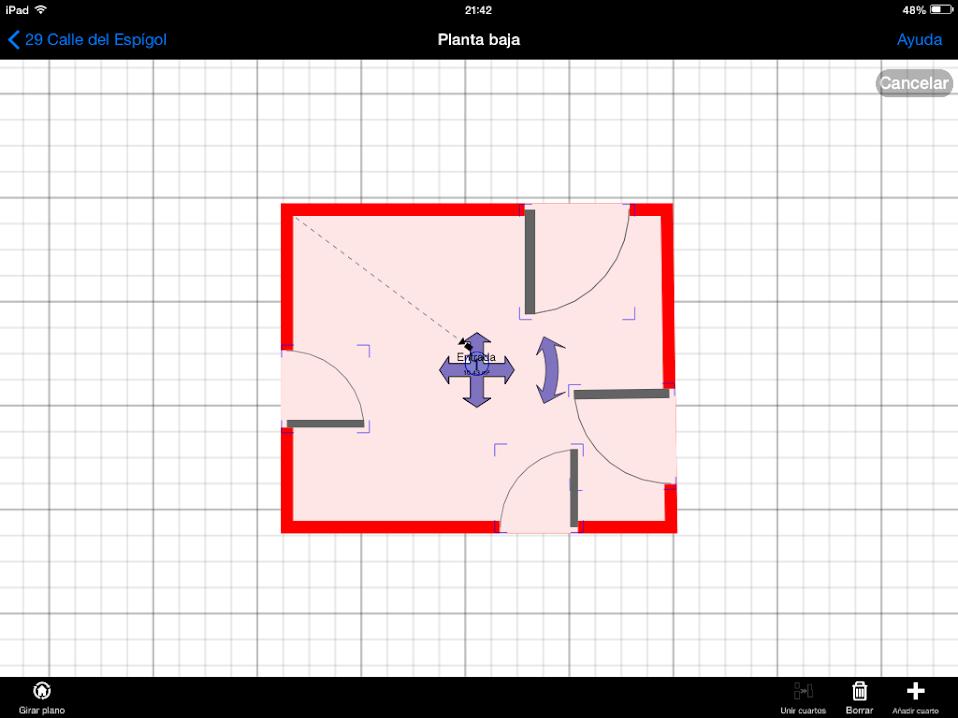 Apps de Construcción | girar y mover estancias para unirlas con otras en MagicPlan