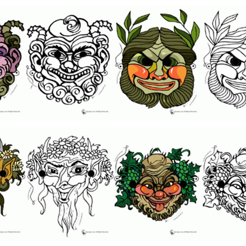 máscaras griegas imprimibles para niños y adultos.