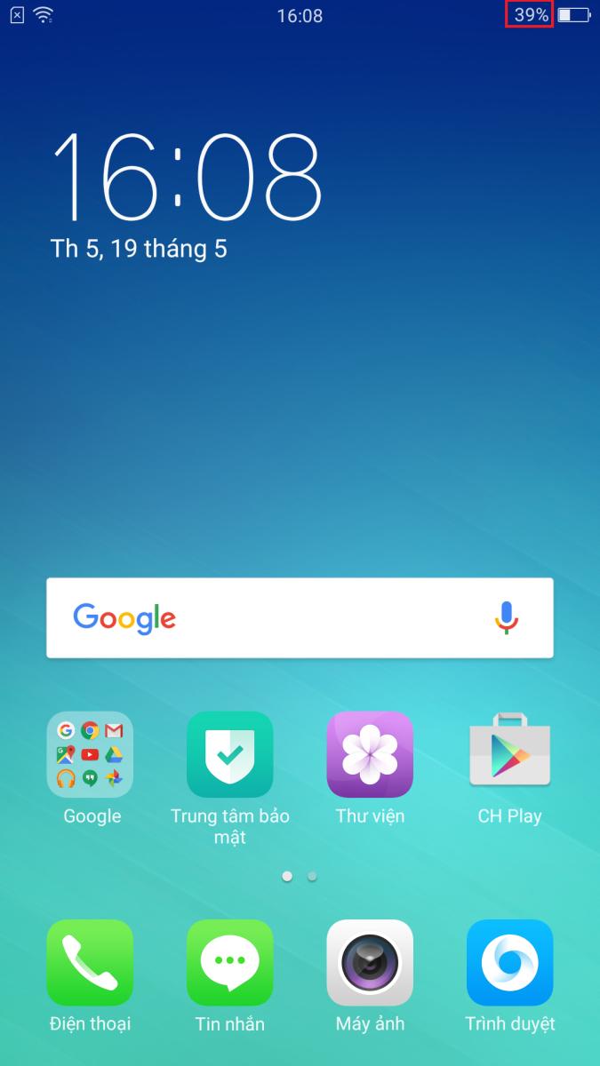 Hiển thị phần trăm pin trên Oppo F1 Plus