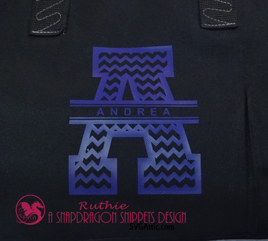 Chevron Split Monogram A, SnapDragon Snippets, Ruthie Lopez, Vynil, HTV project 3