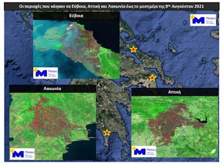 Ε.Α.Α : Πάνω από 650.000 στρέμματα έχουν γίνει στάχτη μέχρι στιγμής σε Εύβοια, Αττική και Λακωνία