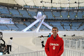 Me and the three-legged cauldron before the Closing Ceremony