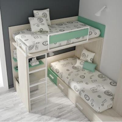 habitación litera cruzada para niños