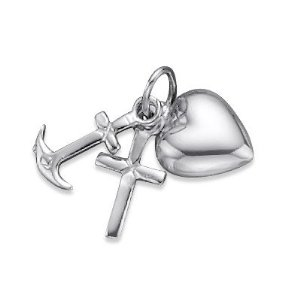 Heart Cross Anchor Charm