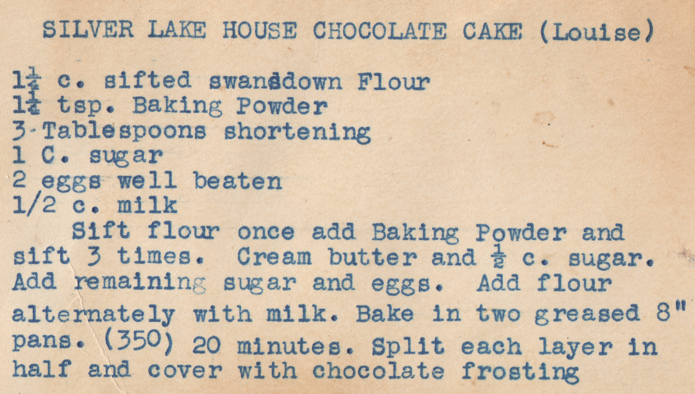 Silver Lake Chocolate Cake Recipe