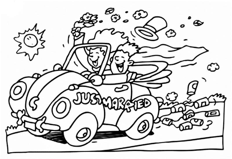 Recién casados en carro con latas para colorear, imprimir y pintar