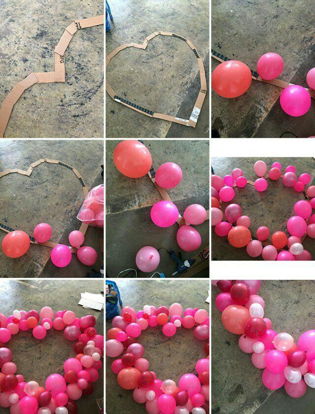 Cómo hacer un marco de corazón gigante con globos