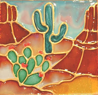 Decorative southwestern desert, cactus and buttes