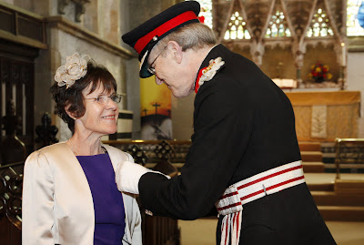 Jo Evans receives The British Empire Medal from HM Lord Lieutenant for East Sussex, Mr Peter J. Field.  at St Denys Church Rotherfield. Jo is the Founder of Rotherfield St Martin.   29/04/13
