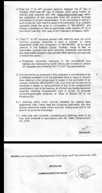 Documents for suit against #Endsars Promoters
