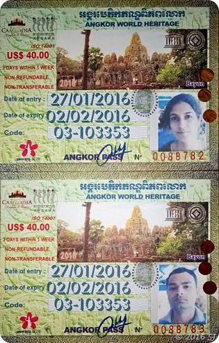 Our Passes to Angkor Archaeological Area
