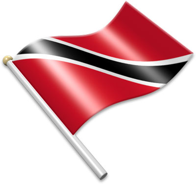 The Trinidadian or Tobagonian flag on a flagpole clipart image