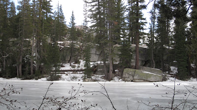 Boulder lake.  Frozen over except for one small part that got sun in the middle of the day, on the north shore.