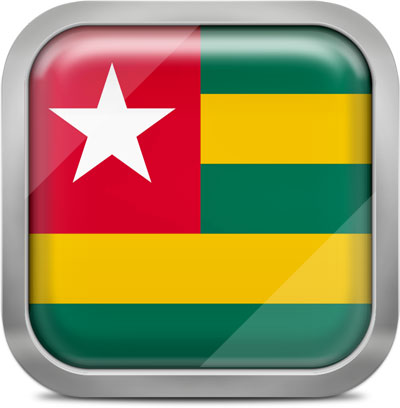Togo square flag with metallic frame