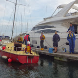 The yacht safely moored in Poole Quay Boat Haven. 28 September 2013. Photo credit: RNLI / Dave Riley