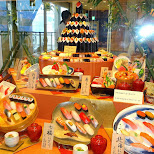 sushi on display at Odaiba decks in Odaiba, Tokyo, Japan