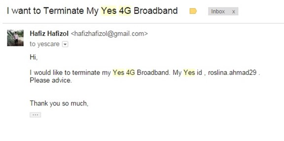cara terminate broadband yes4G