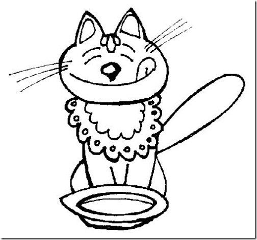 colorear dibujo gato con plato de comida