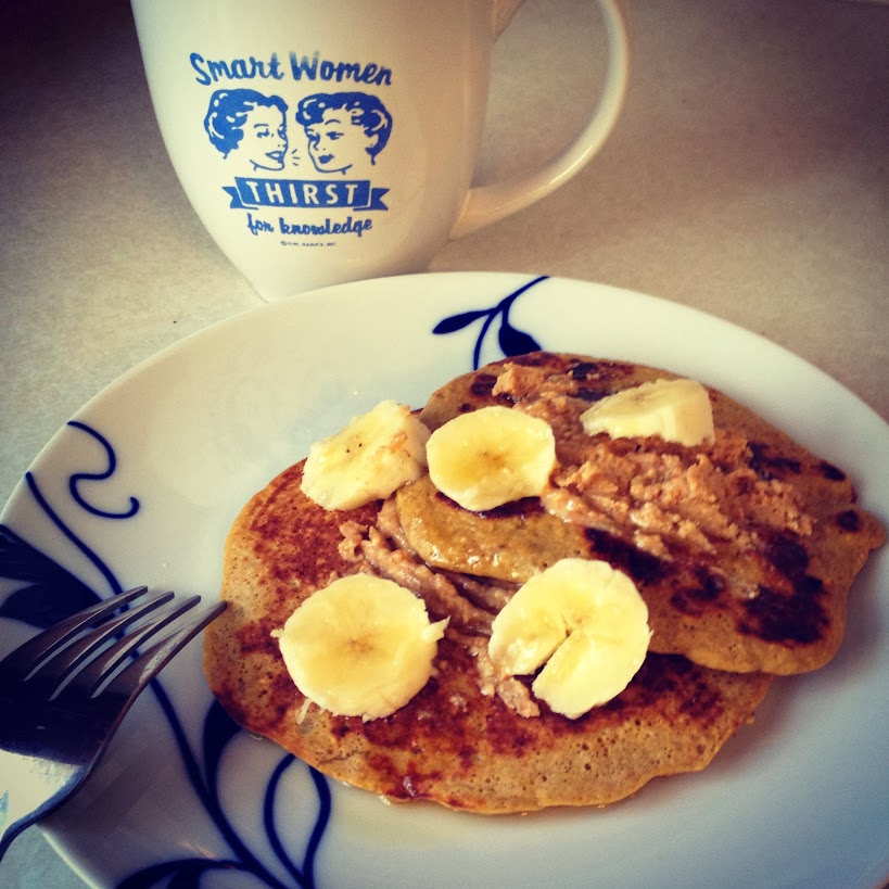 The healthy Elvis: gluten-free protein pancakes with bananas, maple syrup, and peanut butter.