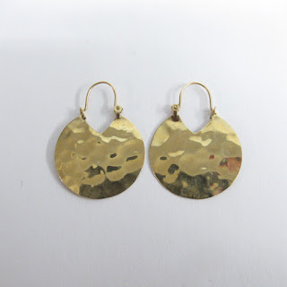 14K Gold Hammered Disc Earrings