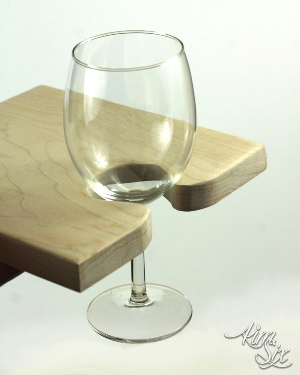 Wine glass holder in wooden cutting board