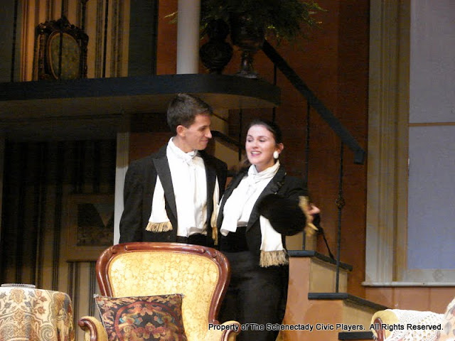 James Dick and Stephanie G. Insogna in THE ROYAL FAMILY (R) - December 2011.  Property of The Schenectady Civic Players Theater Archive.