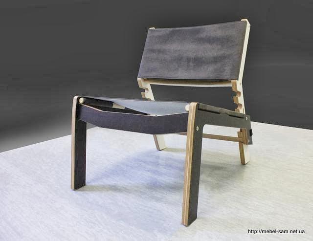 Фанерный стул INDU. Хорошо виден способ крепления тканевого сиденья к каркасу стула