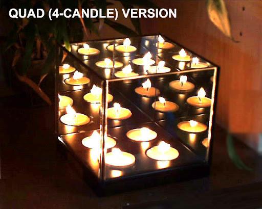 Magic Illusion Quad Infinity Candle Mirror Box Light 4