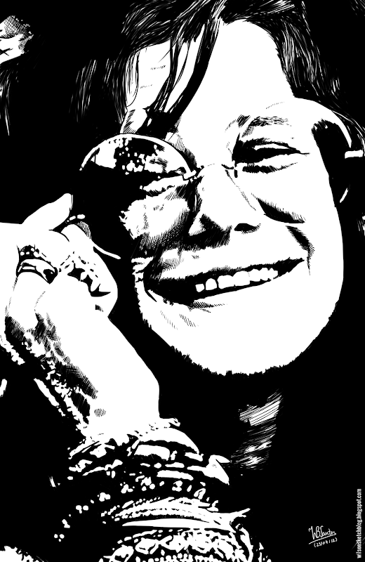 Ink drawing of Janis Joplin, using Krita 2.4.