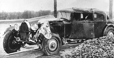 Bugatti 1931 Type 41 Royale Packard après l'accident
