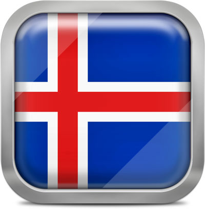 Iceland square flag with metallic frame