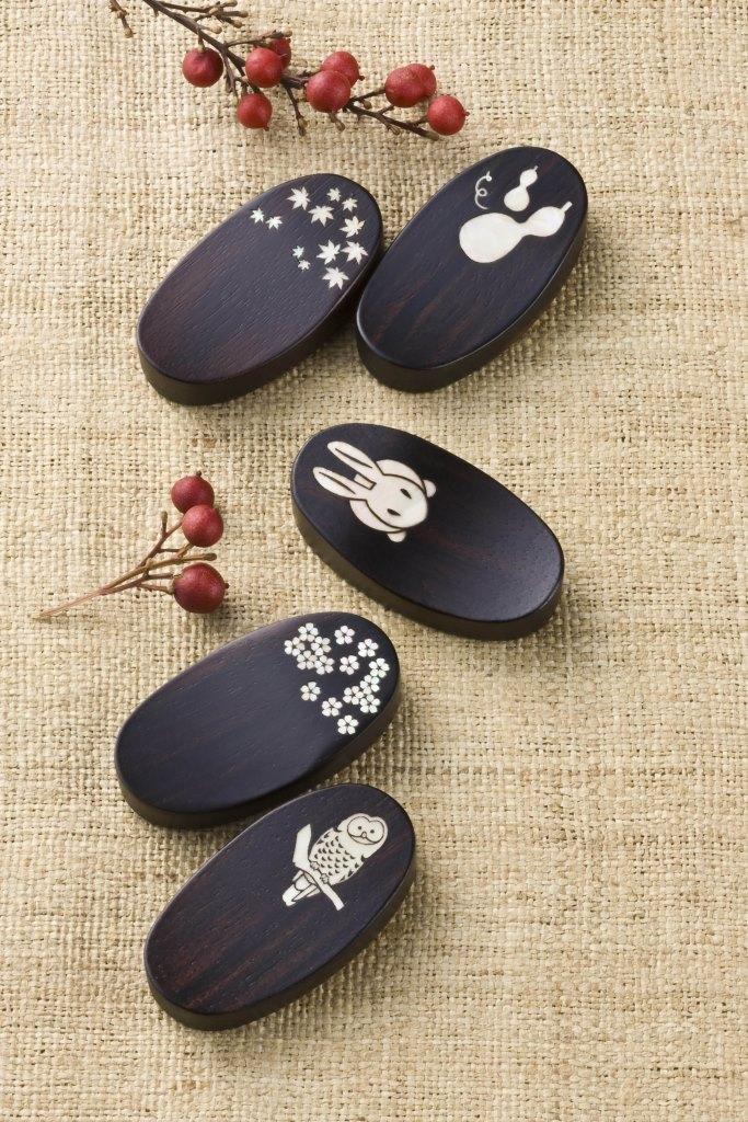 Shell-inlaid Ebony Chopsticks-Rest Set of 5