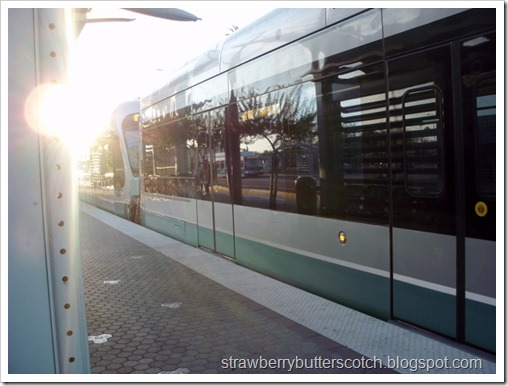 Departing Light Rail Train