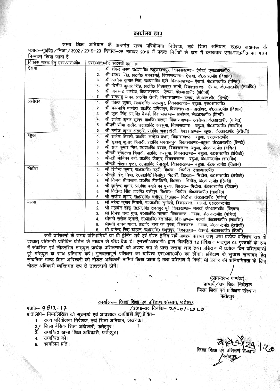 फतेहपुर - विकासखण्ड वार चयनित एसआरपी सदस्यों की सूची जारी, Block wise list of selected SRP members released,