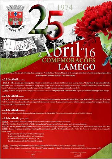 Programa – Comemorações 25 de Abril – Dia da Liberdade em Lamego