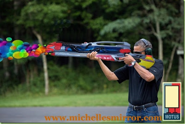 President Obama skeet shooting at Camp David