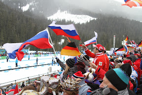 Russian fans cheering on their winning team